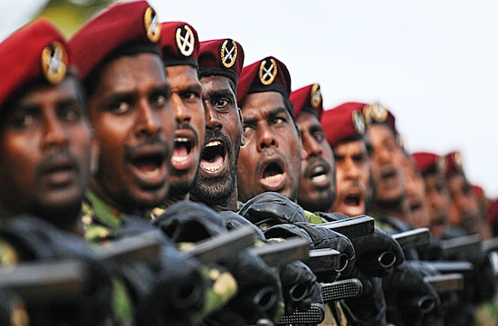 Sri Lankan army commandos march during a